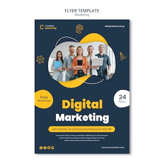 Flyer template design for digital marketing