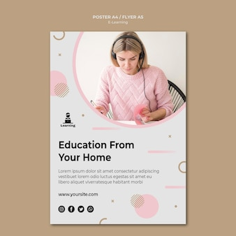 Flyer template design e-learning concept