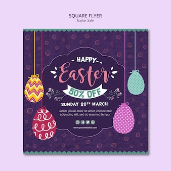 Flyer template design with easter sales