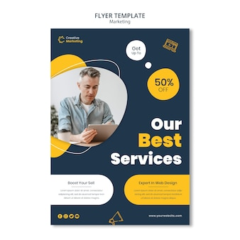 Flyer template design with man looking on digital tablet