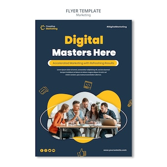 Flyer template design with young team working on a project Premium Psd