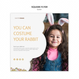 Flyer template for easter with child wearing bunny ears