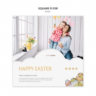 Flyer template for easter with mother and child