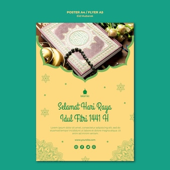 Flyer template for eid mubarak