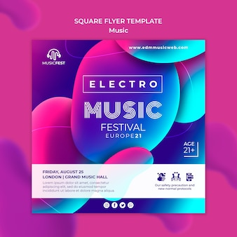 Flyer template for electro music festival with neon liquid effect shapes