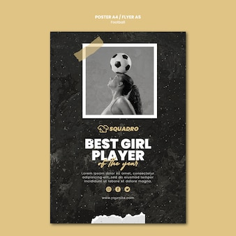 Flyer template for female football player