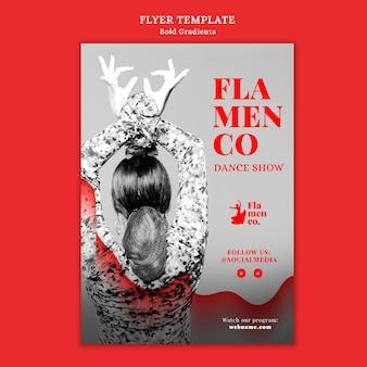Modello di volantino per spettacolo di flamenco con ballerina