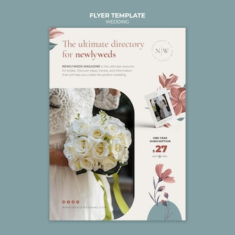 Flyer template for floral wedding