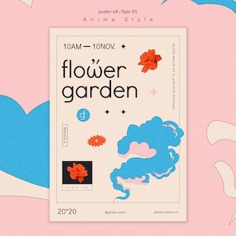 Modello di volantino per giardino fiorito