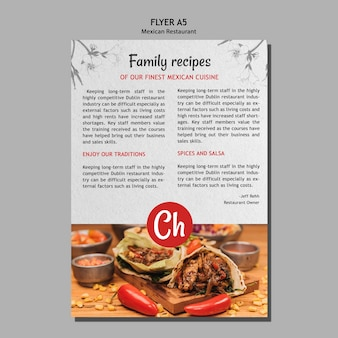 メキシコのレストランで家族のレシピのチラシテンプレート
