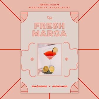 마가리타 칵테일 음료 템플릿 플라이어