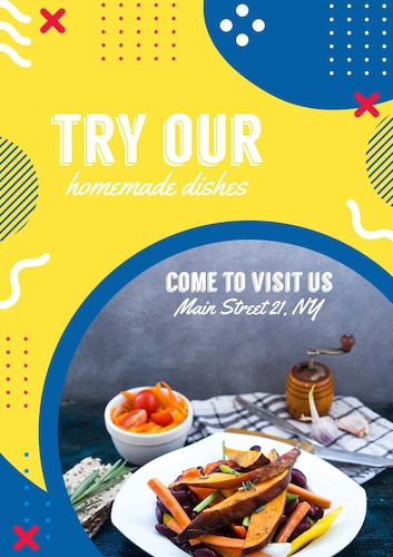Flyer template for restaurant in memphis style