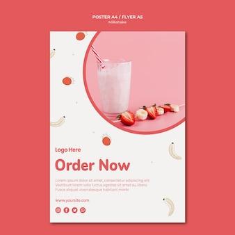 Шаблон флаера для клубничного молочного коктейля