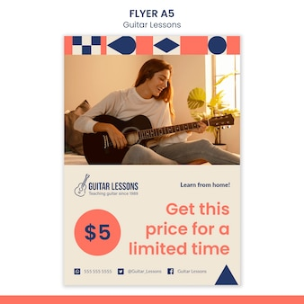 Flyer template for guitar lessons