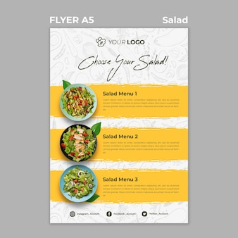 Flyer template for healthy salad lunch