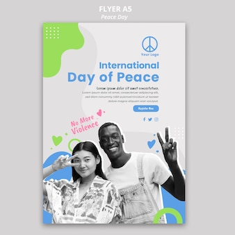 Flyer template for international peace day celebration
