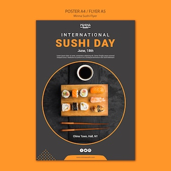 Flyer template for international sushi day
