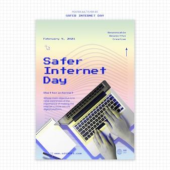 Flyer template for internet safer day awareness