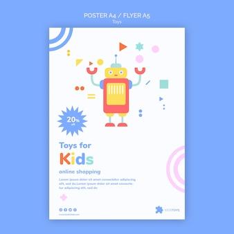 Modello di volantino per lo shopping online di giocattoli per bambini