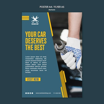 Flyer template for mechanic profession
