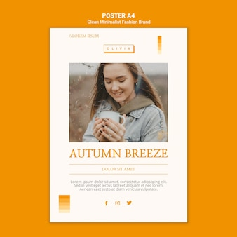 Flyer template for minimalist autumn fashion brand