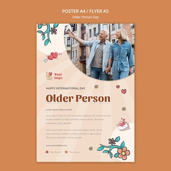 Flyer template for older people assistance and care