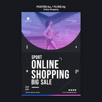 Flyer template for online athleisure shopping