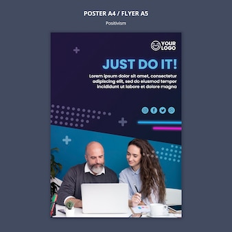 Flyer template for optimism and positivism