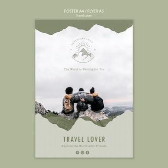 Flyer template for outdoors traveling