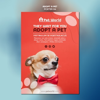 Flyer template for pet adoption with dog