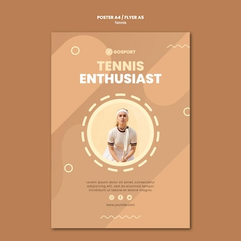 Flyer template for playing tennis