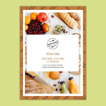 Flyer template for restaurant branding concept