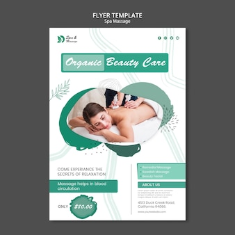 Flyer template for spa massage with woman