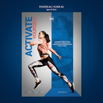 Flyer template for sport and tech