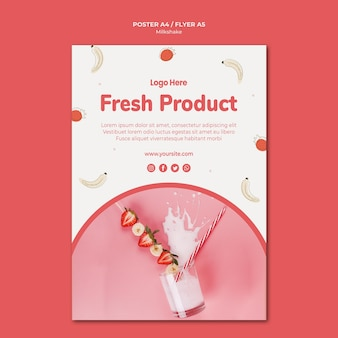 Flyer template for strawberry milkshake