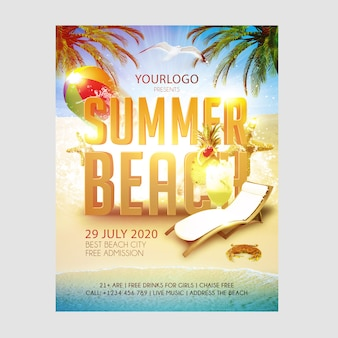 Flyer template summer beach july