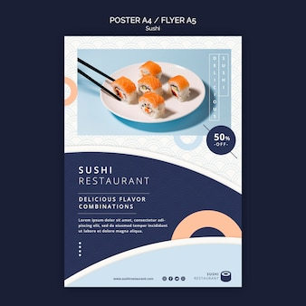 Flyer template for sushi restaurant