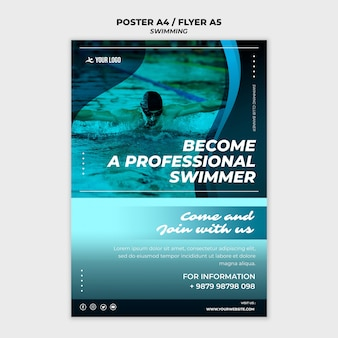 Flyer template for swimming lessons