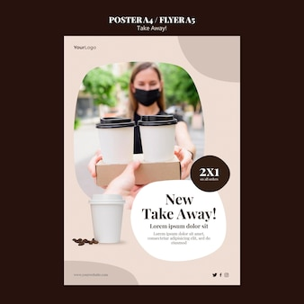 Flyer template for takeaway coffee