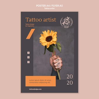 Flyer template for tattoo artist