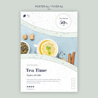 Flyer template for tea time