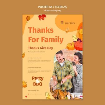 Flyer template for thanksgiving celebration