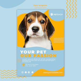 Flyer template theme for pet shop