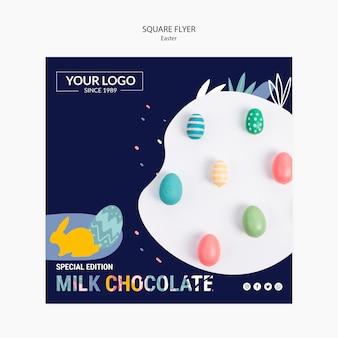 Флаер шаблон темы с темным шоколадом на пасху