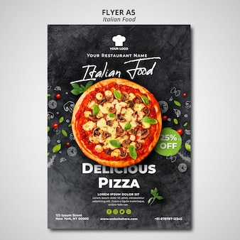 Flyer template for traditional italian food restaurant