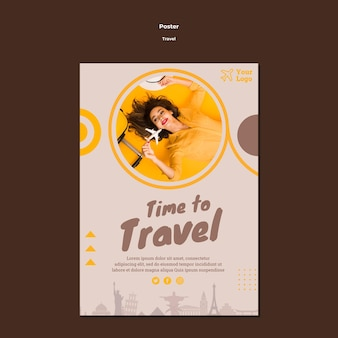 Flyer template for traveling adventure time