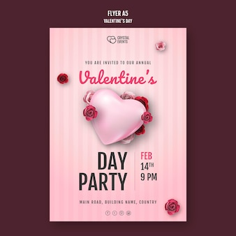 Flyer template for valentine's day with heart and red roses