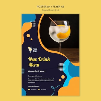 Flyer template for variety of cocktails