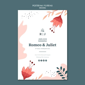 Flyer template for wedding with flowers