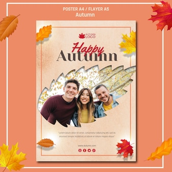 Flyer template for welcoming autumn season